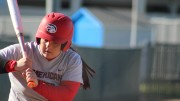 American River College infielder Alexandra Pudlo stares down a pitch thrown during a game against Napa Valley College on Mar. 1, 2016 at ARC. ARC won 7-3. (Photo by Mack Ervin III)