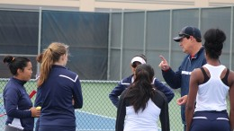 American River College's women's tennis coach Steven Dunmore talks with the team during an intermission of their game against Shasta College on March 8, 2016 at ARC. ARC lost to Shasta 6-1. (Photo by Mack Ervin III)