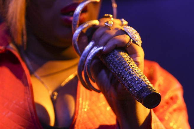 Kima LaRue performs as a drag queen at a bar in Sacramento called Sidetrax. LaRue co-hosts the event drag queen showcase event. (Photo by Joseph Daniels)