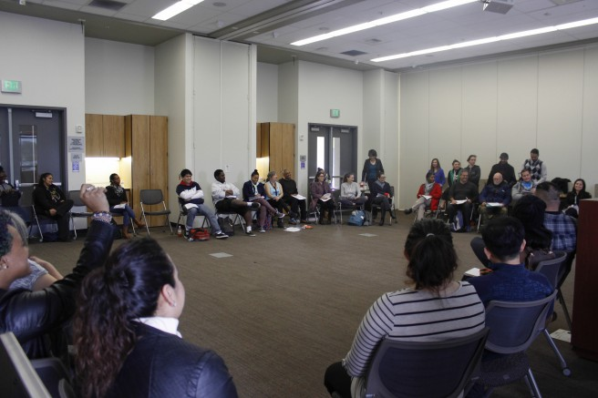 Students gather for a brave space where microagressions are discussed. Brave spaces are one of the strategies American River College is employing to close the race performance gap.  (Photo by Kyle Elsasser)