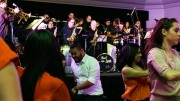 At Sacramento State University Union Ballroom on April 07, 2016 a concert was celebrated by the Grammy- Award winner Pacific Mambo Orchestra in which the audience danced to the rhytm of salsa, mambo, latin jazz and bachata. The event was organized by Salsa Loca Club and UNITE programs at CSUS (Photo by Itzin Alpizar)