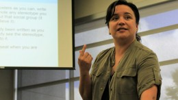 Professor Alina Cervantes spoke to ARC students about stereotypes viewed in society on April 14.  (Photo by Nicole Kesler)