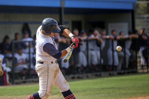 American River College catcher Joaquin Sequeira swings at a pitch during a game vs Sacramento City College on April 21 2016 at American River College.(Photo by Kyle Elsasser)