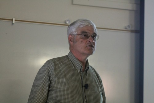 Steve Running, who received a doctorate in forest ecophysiology speaking during a lecture on the effects on climate change and new energy developments in Raef Hall at American River College on April 21, 2016. Running was a board member of the Intergovernmental Panel on Climate Change (IPCC) what it was awarded the Nobel Peace Prize, along with former Vice President Al Gore in 2007. (Photo by Mack Ervin III)