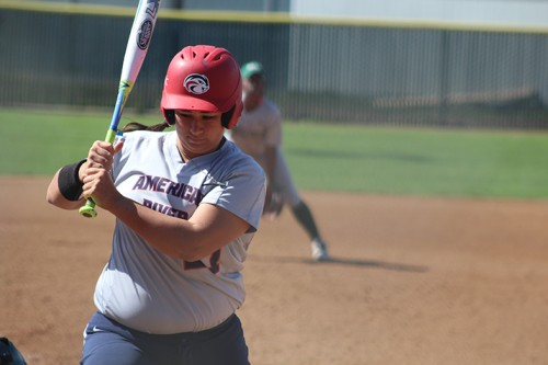 American River College's Justina Thompson looks at a ball that has gone by during a game against Diablo Valley College on April 26, 2016 at ARC. ARC won 7-6. (Photo by Mack Ervin III)