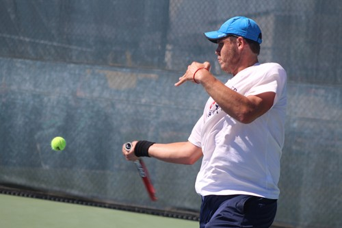 American River College's Alex Meliuk hits a ball during a game against Foothill College's Igor Pissarenko at the NorCal Tournamet Final on April 16, 2016 at ARC. Meliuk won the match 6-0, 6-3 as ARC went on the become NorCal Champions. (Photo by Mack Ervin III)