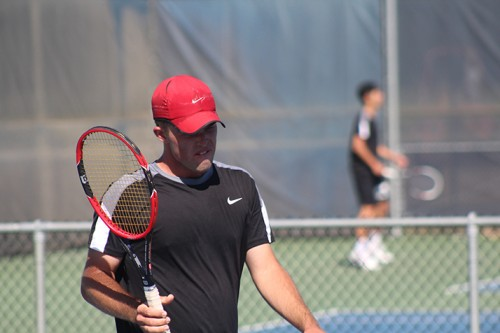 Foothill College's Braden Holt reacts after missing a shot during a match against American River College's Cody Duong at the NorCal Tournament Final on April 16, 2016 at ARC. Holt lost the match 6-4, 5-3 as ARC went on to become NorCal Champions. (Photo by Mack Ervin III)