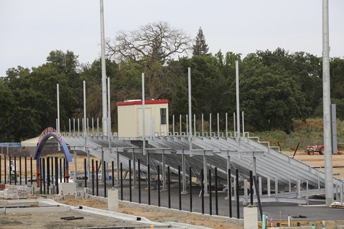 Construction of the bleachers and press box for the upcoming American River College soccer stadium. The stadium will be completed in the the fall of 2016 and will seat 1000. (Photo by Kyle Elsasser)