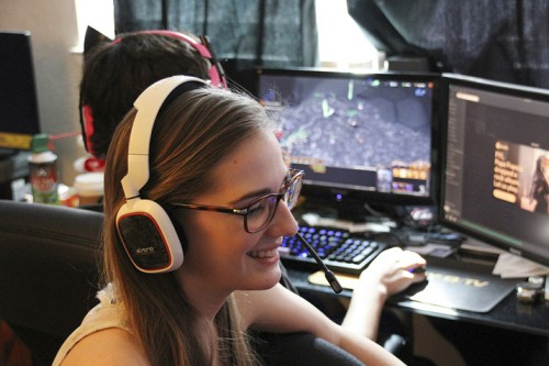 American River College Becky Harris smiles during a StarCraft game against the University of Utah during the 2016 TESPA StarCraft Collegiate Series. Harris and teammate Eric Key, representing ARC, won the game three matches to none but was knocked out of the tournament in the next round by the University of Washington. (Photo by Jordan Schauberger)