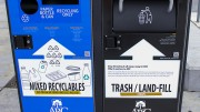 Two new Big Belly units sit on the American River College campus. The 14 Max-R recycle stations  and two Big Belly stations were installed around campus between February and March 2016. (Photo by Itzin Alpizar).