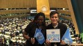 Edna Simbi stands with her friend Juan Pablo Celis Garcia at the United Nations. Simbi, a former ARC student, came to the U.S. on asylum in 2010. (Photo courtesy of Edna Simbi)