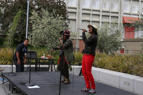 "Brooklyn artist DreamWolf performs during UNITE's event called ""Artivism"" at American River College on April 27 2016. The event featured local activists, visual artisits and live performers. (Photo by Kyle Elsasser)"