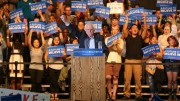 U.S. Presidential candidate Bernie Sanders addresses a crowd of supporters gathered at Booney Field at Cal Expo in Sacramento on Monday. Sanders outlined some of his key strategies to the nearly 15,000 people on hand for the rally. (Photo by Kyle Elsasser)