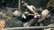 """Members of the North West region """"WolfPack"""" battle with members of the USA Knights. The USA Knights are the American national team that competes in  the International Medieval Combat Federation. (Photo by Kyle Elsasser)"""