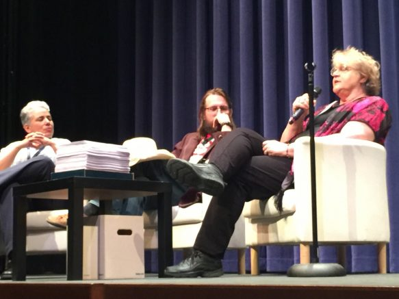 (Left to right) American River College English professors Cathy Arellano, Christian Kiefer and Lois Ann Abraham answer question after their readings at the first day of SummerWords. The creative writing festival is a four-day event that ends on Sunday. (Photo by Jordan Schauberger)