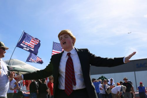 Blake Espino impersonates Donald Trump at Trump's rally in Sacramento, California on June 1, 2016. (Photo by Kyle Elsasser)