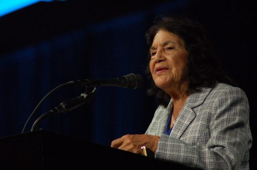 Labor leader and civil rights activist Dolores Huerta gives her keynote speech at NCORE on June 1, 2016. Huerta was one of five keynote speakers at the conference last week in San Francisco. (Photo by Hannah Darden)