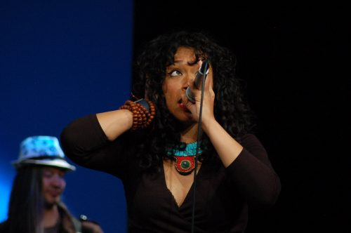 Rapper Aisha Fukushima performs at her concert during the National Conference on Race and Ethnicity in Higher Education in San Francisco on June 2, 2016. (Photo by Hannah Darden)