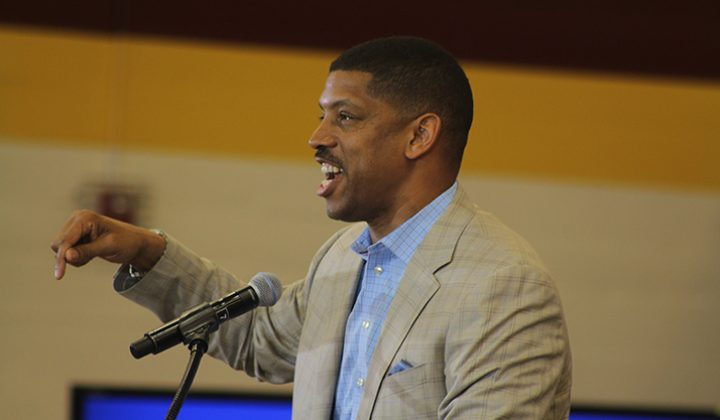 Sacramento mayor Kevin John speaks at a campaign event for democratic frontrunner Hillary Clinton at Sacramento City College on June 5, 2016. Johnson was one of 10 figures to speak before Clinton took the stage. (Photo by Mack Ervin III)