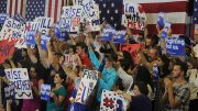 Supporters of democratic presidential candidate Hillary Clinton hold up signs and cheer during a rally event in Sacramento California on June 5, 2016. Clinton was campaiging ahead of California's presidential primary on June 7. (Photo by Mack Ervin III)