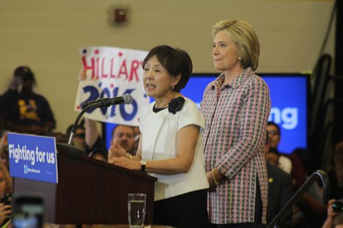 California representative Doris Matsui introduces democratic presidential candidate Hillary Clinton at a campaign event at Sacramento City College on June 5, 2016. Matsui was one of 11 speakers to speak before Clinton took the stage. (Photo by Mack Ervin III)