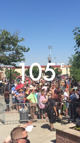 Attendees waited through triple digit heat to get into the Hillary Clinton rally in Sacramento.  (Photo by Jordan Schauberger)