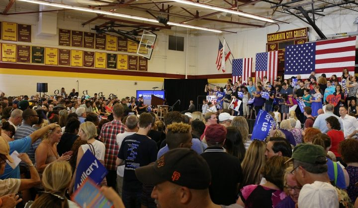 Attendees pack the North Gym at Sacramento City College to hear Hillary Clinton speak at her rally in Sacramento on Sunday. (Photo by Kyle Elsasser)