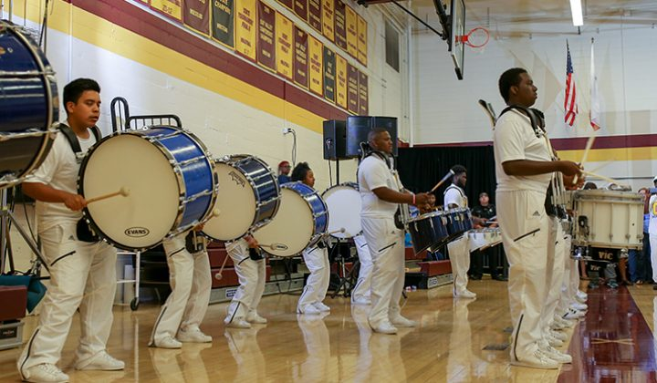 Members of the Grant High School drum line perform prior to Hillary Clinton's campaign event at Sacramento City College in Sacramento, California on June 5, 2016. (Photo by Kyle Elsasser)