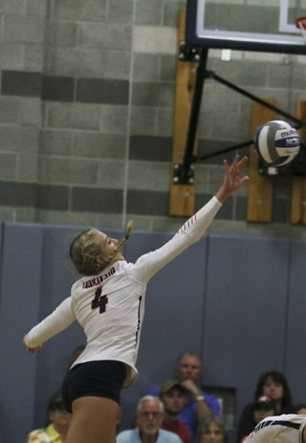 American River College Outside hitter Dani Schoen reaches for the ball during the Vollyball game against Santa Rosa Junior College. ARC won 3-0 on Sept. 24. (Photo by Laodicea Broadway)