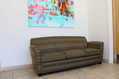 Couch in Culinary Arts Building used by student suspected of indecent exposure on Sept. 26. (Photo by Cheyenne Drury)