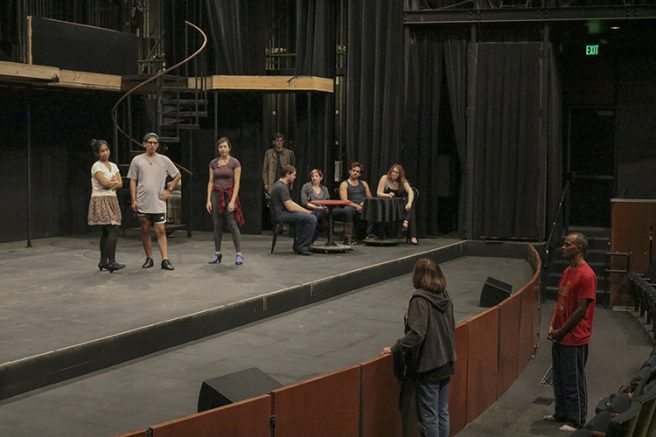 "Director Nancy Silva giving instructions to some of the extras in ""Cabaret"" at a rehearsal on Sept. 21, 2016. (Photo by Lidiya Grib)"