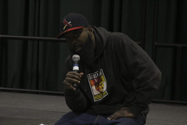 Michael Brown Sr. answers a question from audience member after his speech at Sacramento State on Oct. 20. Brown Sr. talked about his son's death and how he deals with the aftermath. (Photo by Mack Ervin III)