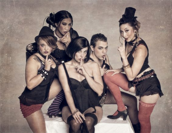 """left to right: Rayana Wedge, Supatchaya Sunpanich, Kyra Britto (as Sally Bowles), Emmanuel Jimenez and Alysia Samba pose in costume. The musical """"Cabaret opened at ARC October 7, 2016. (Photo courtesy of Brian Williams)"""