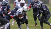 American River College's running back Ce'von Mitchell-Ford runs through a pile of Siskiyous defenders, during the Beavers' 7-0 road win on Oct. 15 2016. (Photos courtesy of Charles Eiers)