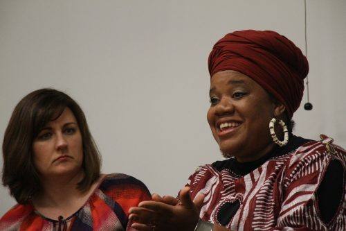 Brandy Liebscher (left) listens to Danielle Williams as she talks about the church's role in the Black Lives Matter era, during the Faith Covenant Community Church's panel at American River College on October 17, 2016. (Photo by Jordan Schauberger)