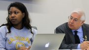 American River College student senate president Valencia Scott (left) and Parliamentarian Lorenzo Cuesta (right) listen to discussion at the October 13, 2016 meeting in the board room. (Photo by Robert Hansen)