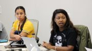 American River College Student Senate President Valencia Scott (right) with Vice President Alejandra Hilbert (left) delivers her opening message at the September 29, 2016 meeting in the board room. (Photo by Robert Hansen)