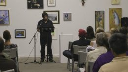 """Local actor Pano Roditis reads from Rachel Gardner's """"Tradesman"""" at the Stories on Stage Los Rios night event on Sept. 30, 2016. The event honored the Los Rios creative writing programs with live readings of stories from each college's literary magazine. (Photo by Hannah Darden)"""