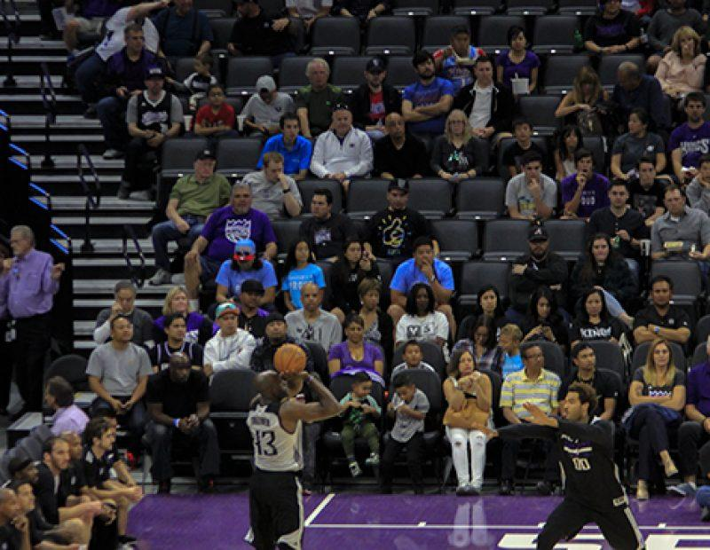 Anthony Tolliver of the Sacramento Kings shoots an uncontested 3-pointer during a friendly exhibition in the newly opened Golden 1 Center on Oct. 1 (Photo by Luis Gael Jimenez)