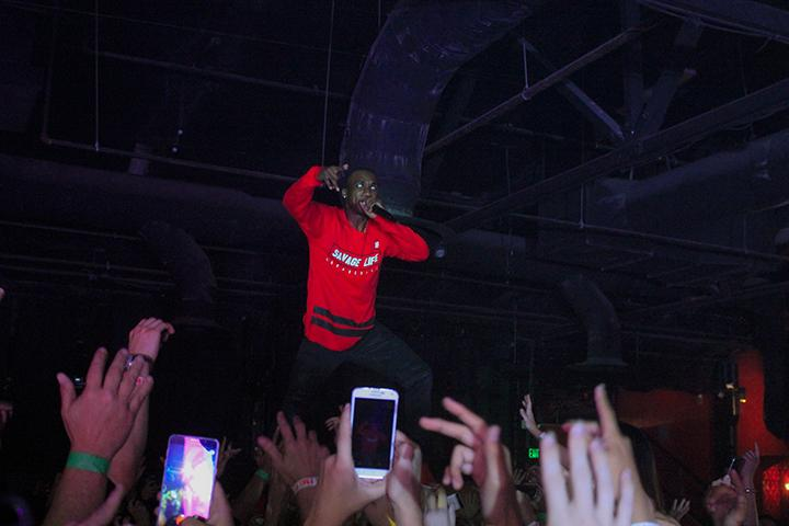 """Rapper Hopsin performs while crowd surfing at Ace of Spades in Sacramento, California on Oct. 8 as part of his """"SavageVille"""" tour (Photo by Luis Gael Jimenez)"""
