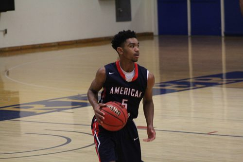 American River College guard Everett Campbell brings the ball upcourt during a scrimmage on Nov. 8, 2016 at ARC. The team's planned game against William Jessup J.V. was cancelled due to eligibilty reasons. (Photo by Mack Ervin III)