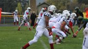 Players on the American River College football team getting ready to snap the ball against Feather River College on Oct 29, 2016. ARC won 40-0. (Photo by Mike Yun)