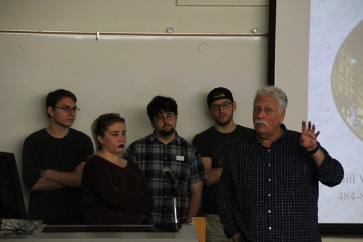 Professor Bill Wrightson and past students talk about their experiences in Florence, Italy during a College Hour on Nov. 17, 2016. Wrightson was explaining the study abroad program for next year when they go back to Italy. (Photo by Mack Ervin III)