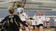 ARC vollyball players Erin Fogarty and Kaitlin Meyer rush for the ball during a game against San Joaquin Delta College on Nov. 9, 2016. (Photo by Lidya Grib)