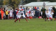 Quaterback Griffim Dahn throws the ball during a game against Feather River College on Oct. 29. (photo by Mike Yun)