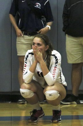 Freshman Carly Meyers watches from the sideline in anticipation against Feather River on Nov. 22. ARC's vollyball team lost their playoff match 3-1. (Photo by Laodicea Broadway)