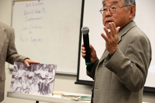 Lester Ouchida speaks about his experience living in Japanese internment camps during WWII to ARC students in Reaf 160 on Nov. 22, 2016. (Photo by Robert Hansen)