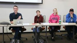 From left to right CAEB Pres. Justin Nicholson, Vice Pres. Mary Stedman, Director of Activities Ashlee Nicholson, Director of Finance Bryan Stalker laugh during their Nov. 8 meeting. They were discussed plans for the upcoming Club Day on Nov. 17. (Photo by Mychael Jones)