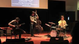 San Diego based band, Neu Jazz Trio was invited to a Jazz Clinic at ARC to share with students about the music world, Monday Nov. 7.  (photo by Lidiya Grib)