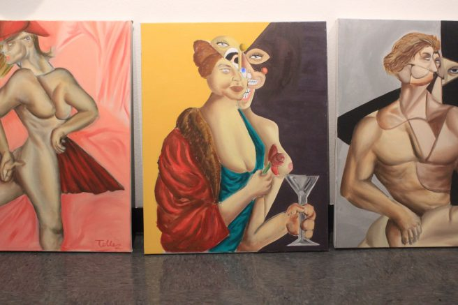 ARC student Jose Tellez's twisted and distorted figurative paintings are displayed in the Shadow Box. (Photo by Lidiya Grib)